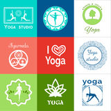 Yoga illustration. Set of yoga logos. EPS,JPG. Stock Photo