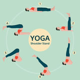 Yoga illustration, shoulder stand, yoga exercise vector Stock Photography