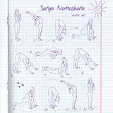 Yoga illustration. Surya Namaskara. EPS,JPG. Royalty Free Stock Photos