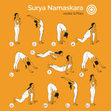 Yoga illustration. Surya Namaskara. EPS,JPG. Stock Images