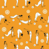 Yoga illustration. Surya Namaskara. Seamless pattern. EPS,JPG. Stock Photos
