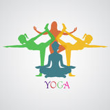 Yoga, illustrazione di vettore, app, insegna Immagine Stock Libera da Diritti