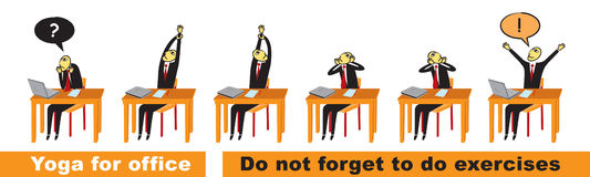 Yoga im Büro Vektor Abbildung