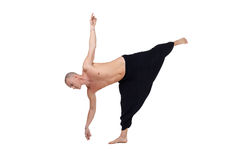 Yoga. Image of middle-aged man performs asana Royalty Free Stock Photo