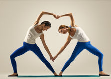 Free Yoga In Pair. Heart Royalty Free Stock Image - 61785646