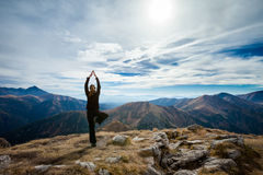 Yoga In Tatry Mountains Stock Photo