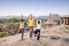 Yoga with Indian boys royalty free stock image