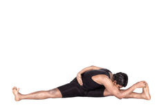 Yoga by Indian man on white Stock Photo