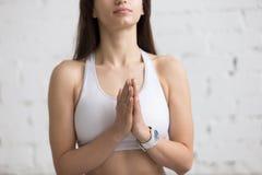 Yoga Indoors: Anjali mudra Stock Images