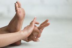 Yoga Indoors: Gyan Mudra - Mudra of Knowledge Stock Photos