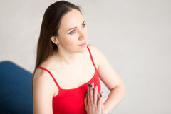 Yoga Indoors: Prayer Position Stock Images