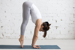 Yoga Indoors: preparation for Handstand pose Stock Photos