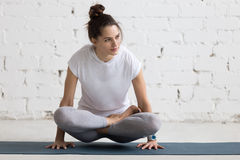 Yoga Indoors: Scale Pose Stock Images