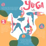 Yoga infographic poster with women with beautiful hair. Folk flat style. Yoga infographic poster with women with beautiful hair. Folk flat scandinavian style royalty free illustration