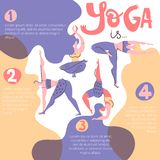 Yoga infographic poster with women with beautiful hair. Folk flat style. Yoga infographic poster with women with beautiful hair. Folk flat scandinavian style stock illustration
