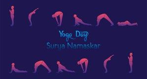 Yoga practice infographics. Yoga infographics, Surya Namaskar sequence benefits of practice Stock Photos