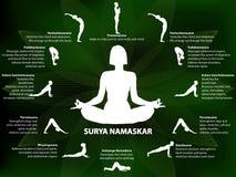 Yoga infographics, Surya Namaskar sequence. Salutation to the Sun, benefits of practice Stock Photography