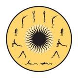 Surya Namaskar set, Salutation the Sun. Yoga infographics, Surya Namaskar set, Salutation the Sun Stock Image
