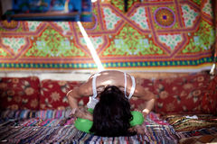 Yoga inside with sunbeam Stock Photo