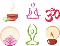 Yoga, insieme di concetto di meditazione delle icone Fotografia Stock Libera da Diritti