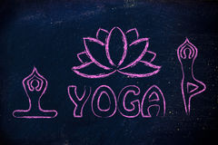 Yoga inspired illustration, mind body and soul. Mind body and soul design inspired by yoga Stock Image