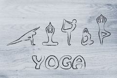 Yoga inspired illustration, mind body and soul Royalty Free Stock Photo