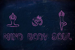 Yoga inspired illustration, mind body and soul. Mind body and soul design inspired by yoga, with asanas (yoga poses) and OM symbol stock photography