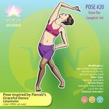 20 YOGA Inspired by Parvatis Graceful Dance. Vector illustration of Yoga Exercises with full text description, names and symbols of the involved chakras. Female Stock Images