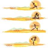yoga inställda baner vektor illustrationer