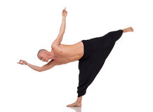 Yoga instructor in special pants for training Stock Images