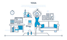 Yoga, interior of the room, furniture for relaxing, quiet atmosphere. Royalty Free Stock Images