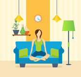 Yoga, interior of the room, furniture for relaxing, quiet atmosphere. Stock Photography