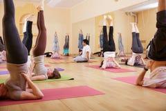 Yoga internazionale di rilassamento del gruppo di esercizio Fotografie Stock