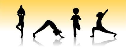 Yoga kids. Asanas poses silhouette stock illustration