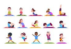 Yoga kids. Cartoon children doing yoga. Sporting girls and boys in gym. Vector characters isolated set. Illustration of child yoga cartoon, sport fitness stock illustration