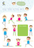 Yoga kids collection with boy and girl pose yoga and board of sc Stock Image