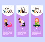 Yoga kids flyers design with girls Stock Photo