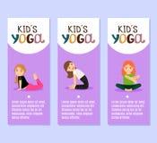 Yoga kids flyers design with girls. Yoga kids vector violet flyers design with girls Stock Photo