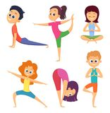 Yoga for kids. Happy childrens make different exercises. Cartoon characters set. Yoga exercise for kids, asana and meditation pose illustration Royalty Free Stock Images