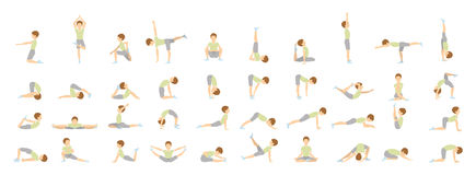 Yoga for kids. Isolated poses and asanas for children on white background Royalty Free Stock Photo