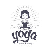Yoga for kids logo with calm little girl Stock Photo