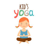 Yoga kids logo design with girl Stock Photography