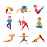 Yoga kids poses Royalty Free Stock Images