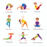 Yoga kids poses set. Cute cartoon gymnastics for children and healthy lifestyle sport illustration. Vector clip art happy kids fitness exercise and yoga asana Royalty Free Stock Photos