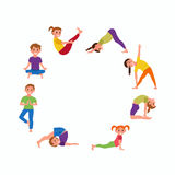 Yoga kids poses set Royalty Free Stock Images