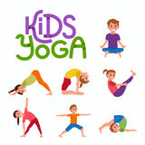 Yoga kids poses set Stock Images