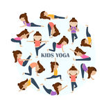 Yoga kids poses. Vector Yoga kids collection. Set of yoga poses for children in flat style. Gymnastics and healthy lifestyle. Vector illustration Stock Photos