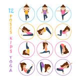 Yoga kids poses. Vector Yoga kids collection. Set of yoga poses for children in flat style. Gymnastics and healthy lifestyle. Vector illustration Royalty Free Stock Photo