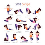Yoga kids poses. Vector Yoga kids collection. Set of yoga poses for children in flat style. Gymnastics and healthy lifestyle. Vector illustration Royalty Free Stock Photos