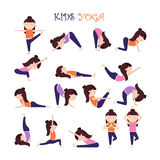 Yoga kids poses. Vector Yoga kids collection. Set of yoga poses for children in flat style. Gymnastics and healthy lifestyle. Vector illustration Royalty Free Stock Image